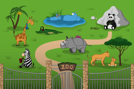 Animals of zoo in cartoon style. Scene with funny characters. Wildlife poster Stock Illustratie