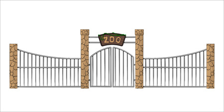 Zoo gate. Isolated object in cartoon style on white background. Gateway with lattice Vectores