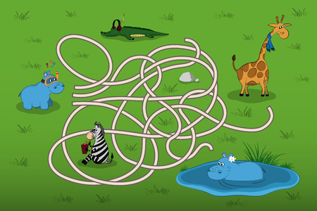 Help the little hippo to find mother in the maze.