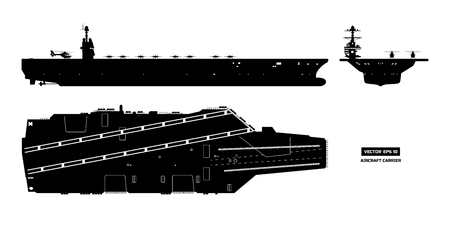 Silhouette of aircraft carrier icon set Иллюстрация