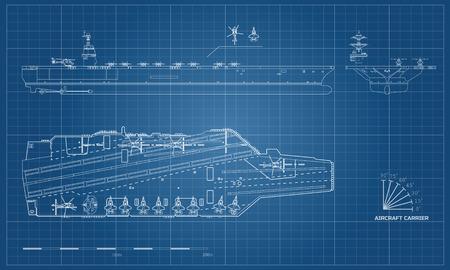 Blaupause des Flugzeugträgers. Militärschiff. Draufsicht, Vorder- und Seitenansicht. Schlachtschiff Modell. Industriezeichnung. Kriegsschiff im Umrissstil