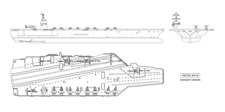 Outline image of aircraft carrier. Military ship. Top, front and side view. Battleship model. Industrial drawing. Warship in flat style Иллюстрация