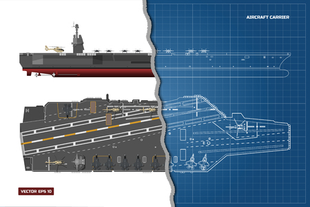 Blueprint of aircraft carrier 矢量图像