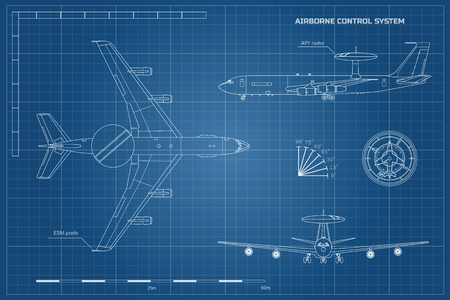 Outline blueprint of military aircraft. Top, front and side jet view. Army airplane with airborne warning and control system.  Industrial isolated drawing