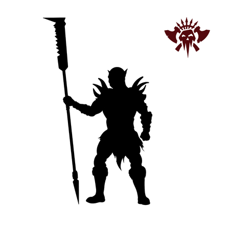 Black silhouette of orc with spear on background. Fantasy character. Angry warrior with weapon. Barbarian tattoo Illustration