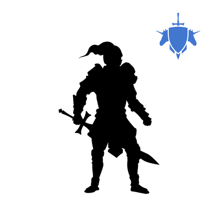 Black silhouette of medieval knight. Fantasy character. Games icon of paladin with sword. Isolated drawing of warrior 向量圖像