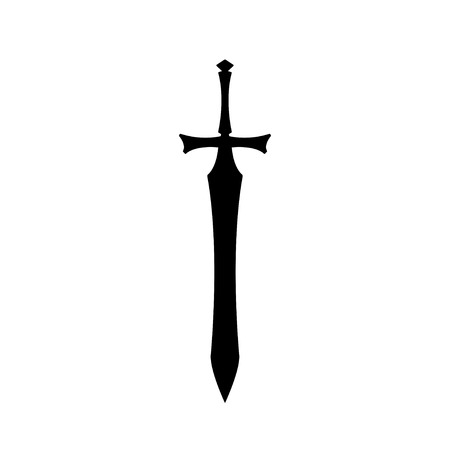 Black silhouettes of medieval knight sword on white background. Paladin weapon icon. Fantasy warrior equipment