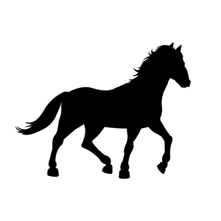Black silhouette of galloping horse on white background. Wild mustang icon. Detailed isolated image Illustration