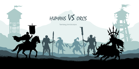 Black silhouette of battle orcs and humans. Fantasy landscape. Medieval 2d panorama. Knights and warriors fighting scene. Panorama with towers Stock Illustratie