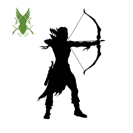 Black silhouette of elven archer with bow. Fantasy character. Games icon of scout with weapon. Isolated drawing of archery