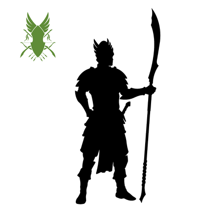Black silhouette of elven knight with spear . Fantasy character. Games icon of elf with weapon. Isolated drawing of warrior Vectores