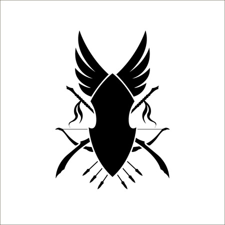 Games heraldic sign of elfs. Medieval coat of elven arms with a bow and spears. Black silhouette. Fantasy icon