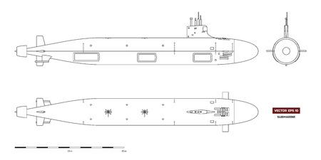 Plano de submarino. Nave militar. Vista superior, frontal y lateral. Modelo de acorazado. Dibujo industrial. Buque de guerra en estilo de contorno