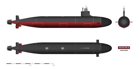 Imagen detallada de submarino. Nave militar. Vista superior, frontal y lateral. Modelo de acorazado. Dibujo industrial. Buque de guerra