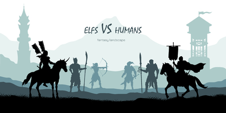 Black silhouette of battle humans and elfs. Fantasy landscape. Medieval 2d panorama. Knights and warriors fighting scene. Scenery with towers