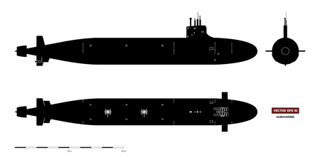 Black silhouette of submarine. Military ship. Top, front and side view. Battleship model. Industrial drawing. Warship image