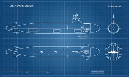 Blaupause des U-Bootes. Militärschiff. Draufsicht, Vorder- und Seitenansicht. Schlachtschiff Modell. Industriezeichnung. Kriegsschiff im Umrissstil