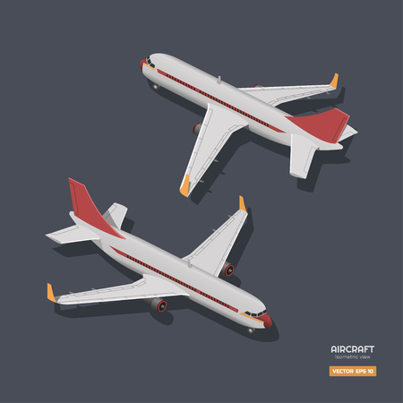 Civil aircraft in isometric style. Industrial drawing of 3d airplane. Front and back view. Plane icon for game or infographic