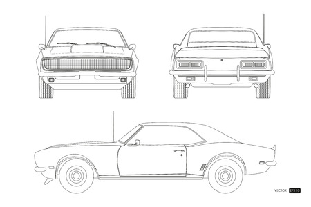 Blueprint of retro car. American vintage automobile of 1960s in outline style. Front, side and back view. Classic auto. Vector illustration Vektorové ilustrace