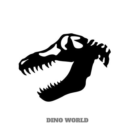 Black silhouette of dinosaur skull on white background. Isolated image of jurassic monster. Dino icon