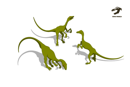Small dinosaur  in isometric style. Isolated image of jurassic monster. Cartoon dino 3d icon