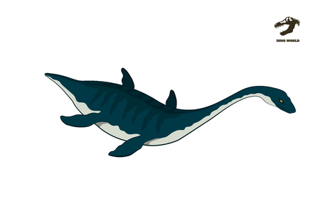 Dinosaur plesiosaur in isometric style. Isolated image of jurassic monster. Cartoon dino 3d icon. Sea reptile Ilustrace