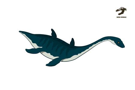 Dinosaur plesiosaur in isometric style. Isolated image of jurassic monster. Cartoon dino 3d icon. Sea reptile Illustration