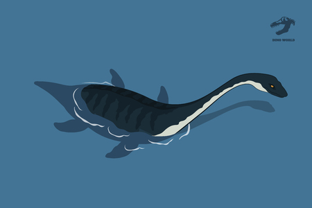 Dinosaur plesiosaur in isometric style. Isolated image of jurassic monster in water. Cartoon dino 3d icon. Sea reptile