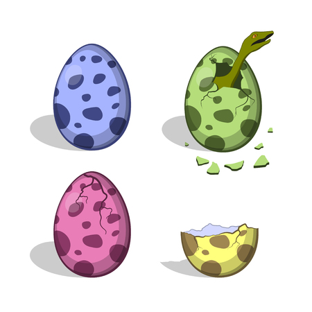 Dinosaur eggs in cartoon style. Isolated image of broken colorful object.   Dino icons