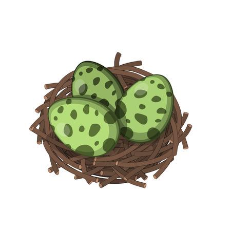 I dinosauri nidificano con le uova in stile isometrico. Immagine isolata di mostri giurassici