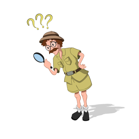 Professor with loupe in cartoon style. Image of finder in isometric view. Drawing of jungle researcher