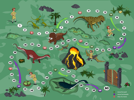 Dinosaurs board game for children in cartoon style. Landscape with a path image. Adventure map of dino park in isometric style. Board maze. Vector illustration Foto de archivo - 111801543