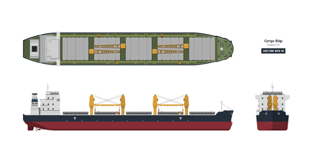 Frachtschiff auf weißem Hintergrund. Ansicht von oben, von der Seite und von vorne. Containertransport im flachen Stil. Industrielle Zeichnung eines Tankers. Schiffsbauplan. Isolierte Vektorgrafik