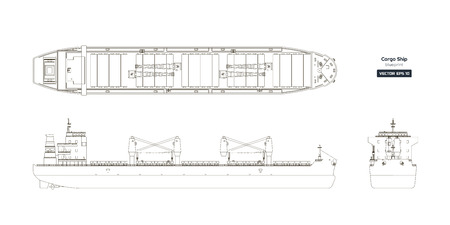 Outline drawing of cargo ship on a white background. Top, side and front view of tanker. Container boat blueprint. Vector illustration Illustration