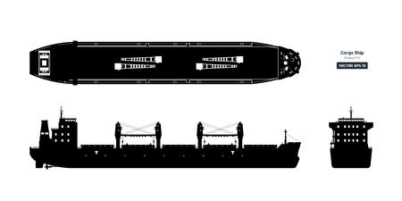 Schwarze Silhouette des Frachtschiffs auf weißem Hintergrund. Tankwagen von oben, von der Seite und von vorne. Bauplan für Containerschiffe. Vektor-Illustration