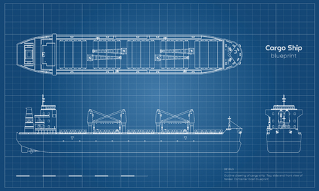 Blueprint of cargo ship on white background. Top, side and front view of tanker. Container boat industrial drawing. Vector illustration Standard-Bild - 110271155