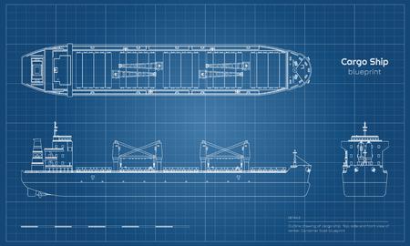 Plano de buque de carga sobre fondo blanco. Vista superior, lateral y frontal de la cisterna. Dibujo industrial de barco portacontenedores. Ilustración vectorial