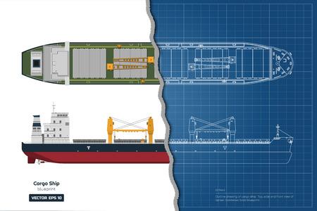 Plan de cargo sur fond blanc. Vue de dessus, de côté et de face du pétrolier. Dessin industriel de bateau porte-conteneurs. Illustration vectorielle Vecteurs