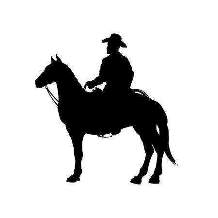 Siluetta nera del cowboy a cavallo. Immagine isolata del pilota americano. paesaggio occidentale. Illustrazione vettoriale