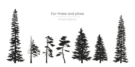 Black silhouettes of fur-trees and pines. Forest landscape. Isolated drawing of simple objects. Vector illustration  イラスト・ベクター素材