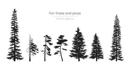 Schwarze Silhouetten von Pelzbäumen und Kiefern. Waldlandschaft. Isolierte Zeichnung einfacher Objekte. Vektorillustration Vektorgrafik