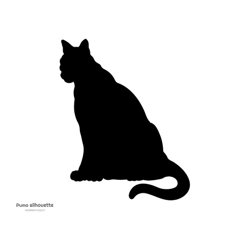Black silhouette of sitting cheetah. Isolated image of cougar on white background. Animal of North America