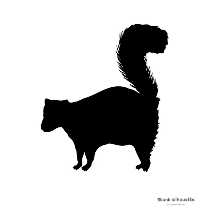 Black silhouette of skunk. Isolated image on white background. Animal of North America. Vector illustration