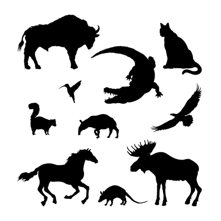 Black silhouettes of North American animal. Isolated image of elk, bison, crocodile on white background. Wildlife graphic