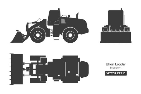 Black silhouette of wheel loader on white background. Top, side and front view. Diesel digger blueprint. Hydraulic machinery image. Industrial document of bulldozer. Vector isolated illustration