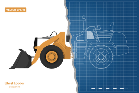 Blueprint of wheel loader. Top, side and front view. Diesel digger. Hydraulic machinery image. Industrial document of bulldozer. Vector isolated illustration Vetores