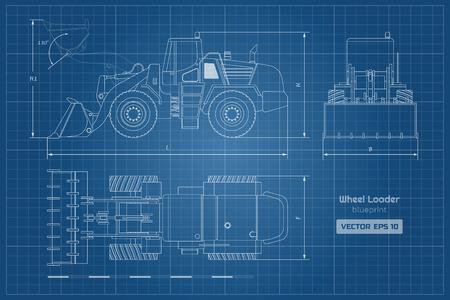 Bauplan des Radladers. Ansicht von oben, von der Seite und von vorne. Dieselbagger. Bild von hydraulischen Maschinen. Industriedokument des Bulldozers. Isolierte Vektorgrafik
