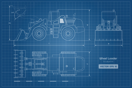 Blueprint of wheel loader. Top, side and front view. Diesel digger. Hydraulic machinery image. Industrial document of bulldozer. Vector isolated illustration Vettoriali