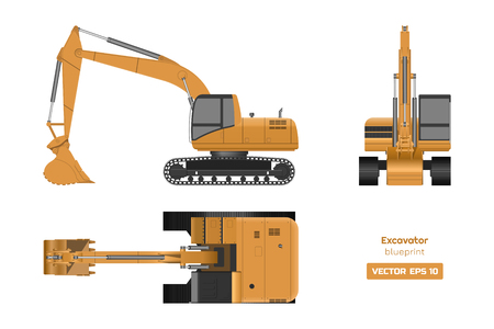 Excavator on white background. Top, side and front view. Hydraulic machinery image. Industrial drawing. Diesel digger blueprint. Vector isolated illustration