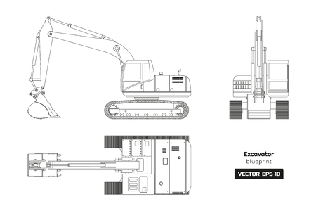 Outline drawing of excavator on white background. Top, side and front view. Diesel digger blueprint. Hydraulic machinery image. Industrial document. Vector isolated illustration 向量圖像